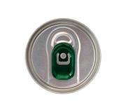 Vista superiore della latta di bevanda con tirata verde dell'anello isolata su bianco Fotografia Stock Libera da Diritti