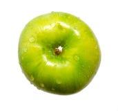 Vista superiore della mela verde fresca isolata su bianco Immagine Stock Libera da Diritti