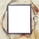 Vista superiore della pagina in bianco alla spiaggia di sabbia Fotografie Stock Libere da Diritti