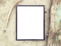 Vista superiore della pagina in bianco alla spiaggia di sabbia Immagini Stock