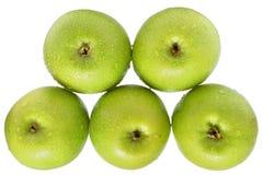 Vista superiore della pila verde della mela isolata Fotografia Stock