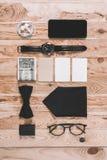 Vista superiore della raccolta alla moda degli accessori Fotografia Stock Libera da Diritti