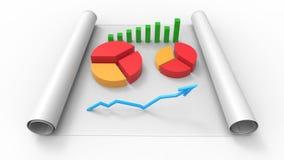 Vista superiore della relazione di attività, su carta 3d rendono Immagini Stock