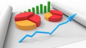 Vista superiore della relazione di attività, su carta 3d rendono Fotografia Stock