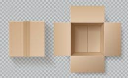Vista superiore della scatola di cartone Scatole aperto-chiuso dentro e modello superiore e marrone del pacchetto, cartone vuoto  illustrazione di stock