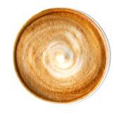 Vista superiore della schiuma calda di spirale del cappuccino del latte del caffè isolata su fondo bianco, percorso immagini stock libere da diritti