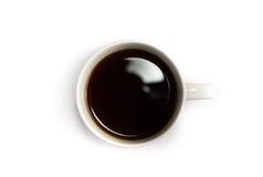 Vista superiore della tazza di caffè isolata su bianco Fotografia Stock Libera da Diritti