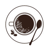 Vista superiore della tazza e del piattino del caffè espresso Immagine Stock