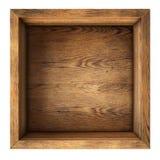 Vista superiore della vecchia scatola di legno isolata Fotografie Stock