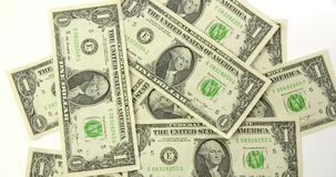 Vista superiore delle fatture di dollaro americano stock footage