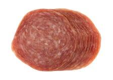 Vista superiore delle fette del salame di Genova immagine stock libera da diritti