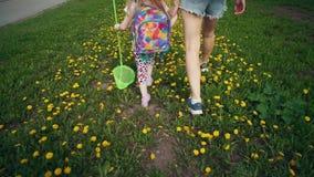 Vista superiore delle gambe del bambino e della giovane donna che camminano sui denti di leone gialli stock footage