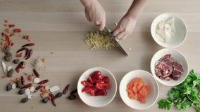 Vista superiore delle mani dei cuochi unici che tagliano Ginger On Wooden Board a pezzi, concetto sano dell'alimento stock footage