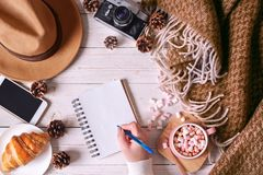 Vista superiore delle mani femminili che scrivono in taccuino Dettagli di natura morta del viaggio fotografia stock libera da diritti