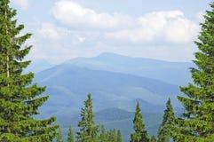 Vista superiore delle montagne, Ucraina Fotografia Stock
