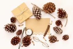Vista superiore delle pigne, del contenitore di regalo e della carta in bianco Immagini Stock