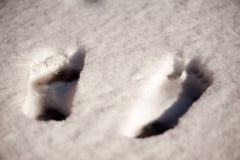 Vista superiore delle stampe del piede nudo nella neve fotografia stock