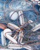 Vista superiore di acquacoltura di piscicoltura dell'attrezzatura della rete da pesca Fotografia Stock Libera da Diritti