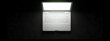 Vista superiore di area di lavoro con il computer portatile sulla tavola royalty illustrazione gratis