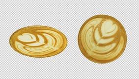 Vista superiore di arte del latte del caffè Percorso di ritaglio fotografia stock