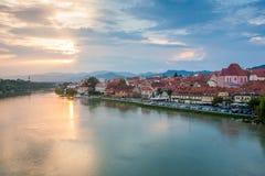 Vista superiore di bella città di Maribor immagine stock