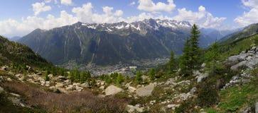 Vista superiore di Chamonix-Mont-Blanc Fotografia Stock