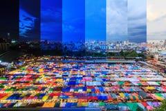Vista superiore di colore differente dell'ombra della tenda di tela al mercato all'aperto Fotografia Stock Libera da Diritti