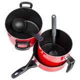 Vista superiore di colore rosso che cucina le vaschette ed i POT Fotografie Stock