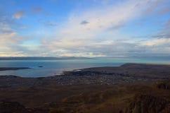 Vista superiore di EL Calafate Nuvola vaga magica del paesaggio della natura di tramonto di sera sul cielo nella Patagonia Fotografia Stock