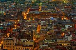 Vista superiore di Messico City alla notte, Zocalo Fotografie Stock Libere da Diritti