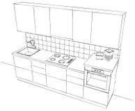 Vista superiore di piccola cucina modulare in bianco e nero Immagine Stock