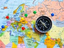 Vista superiore di progettazione un viaggio o dei sogni di pianificazione di viaggio di avventura Programma del mondo concetto di fotografia stock