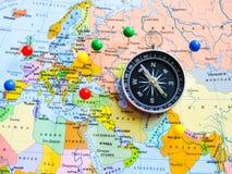 Vista superiore di progettazione un viaggio o dei sogni di pianificazione di viaggio di avventura Programma del mondo concetto di fotografia stock libera da diritti