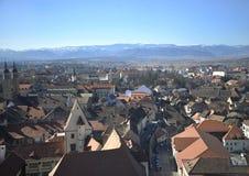 Vista superiore di Sibiu fotografie stock libere da diritti