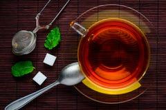 Vista superiore di tè nero Fotografia Stock Libera da Diritti