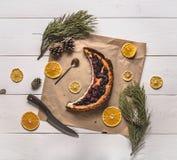 Vista superiore di torta di formaggio Immagini Stock