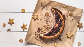 Vista superiore di torta di formaggio Immagine Stock