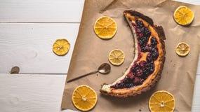 Vista superiore di torta di formaggio Fotografia Stock Libera da Diritti