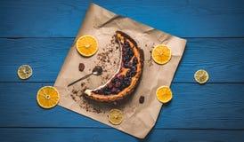 Vista superiore di torta di formaggio Fotografia Stock