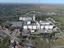 Vista superiore di un elevatore del silo Oggetto di industriale di Aerophotographing Fotografia Stock Libera da Diritti
