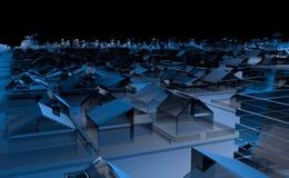 Vista superiore di una città in pieno delle case e delle costruzioni trasparenti blu con le costruzioni astratte sull'orizzonte c illustrazione di stock