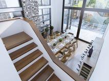 Vista superiore di una progettazione moderna della sala da pranzo Fotografie Stock