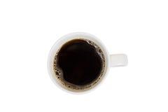 Vista superiore di una tazza di caffè isolata Fotografia Stock