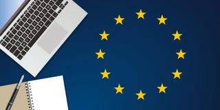 Vista superiore di uno scrittorio, simbolizzante l'attività di media per le elezioni europee illustrazione vettoriale