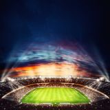Vista superiore di uno stadio di calcio alla notte con le luci sopra rappresentazione 3d Fotografie Stock Libere da Diritti
