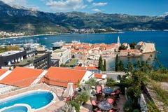 Vista superiore di vecchia città in Budua, Montenegro Immagini Stock Libere da Diritti