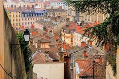 Vista superiore di vecchia città di Lione, Francia Fotografia Stock Libera da Diritti