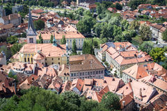 Vista superiore di vecchia città di Transferrina, Slovenia. Immagini Stock