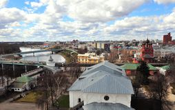 Vista superiore di vecchia città di Yaroslavl Immagini Stock Libere da Diritti