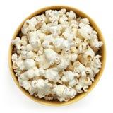 Vista superiore isolata ciotola del popcorn Fotografia Stock Libera da Diritti